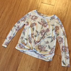ALTAR'D STATE Light Floral Twist-Front Sweater S